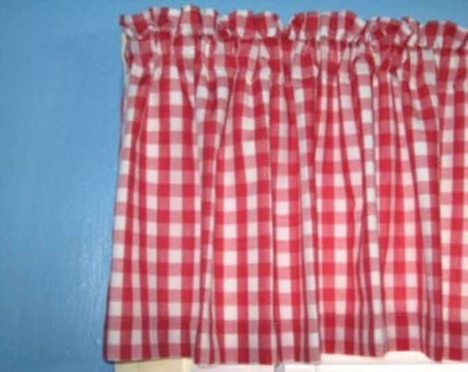 """LINED GINGHAM CHECKED 1"""" 1/2"""" 1/8"""" square Red White window Curtain Valance"""