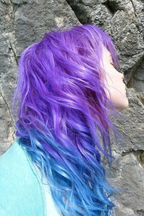 Violet and blue hair - to achieve this colour, separate out the upper and lower layers of your hair and apply purple and blue for the ombre effect...