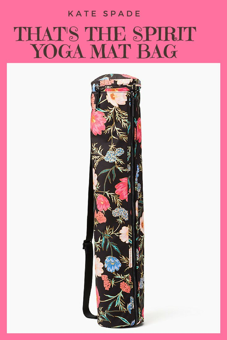 Kate Spade - That's the Spirit Yoga Mat Bag Carrier namast-yay! this nylon yoga mat bag carries exactly what you need for class: your mat (duh) and your little essentials in a separate zippered compartment at the top. #affiliate, #yogamat, #yogamatbag, #yogabag, #katespade, #carrier
