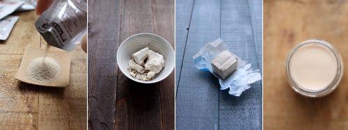 Les levures : les connaitre, les choisir, les utiliser Comment substituer la levure sèche par de la levure fraîche ?  Pour un pain normal utilisant 500 g de farine, utilisez au choix :  un sachet de levure sèche instantanée (selon les marques, le nombre de sachet peut varier) 7 à 10 g de levure sèche active (reportez-vous aux indications de la marque) 21 g de levure en cube (à savoir la moitié du cube) ou de levure en vrac la moitié d'un pot de levure liquide vendue en boulangerie
