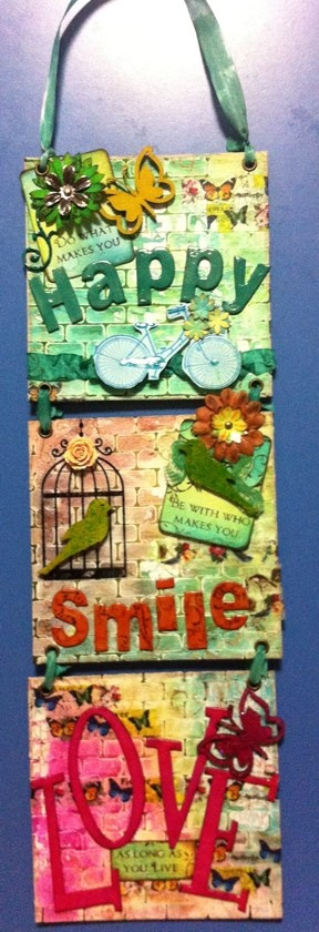 Happy Smile Love Wall Hanging...created by Raelene Refalo using all current range Kaszazz Products