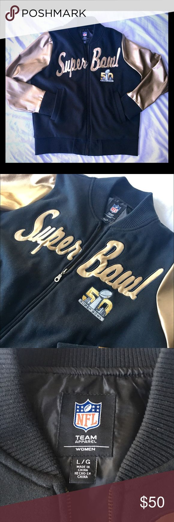 🏈 Official NFL Super Bowl 50 Golden Zip Jacket 🏈 Channel your inner Bruno Mars with this smooth NFL Super Bowl 50 full zip lined jacket with authentic embroidered patch and two pockets. NFL Team Apparel Jackets & Coats
