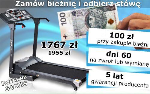 Chcesz biegać w domu? Gwarantujemy, że lepszej okazji nie znajdziesz. Teraz za bieżnię 100 złotych dajemy od ręki http://www.abcfitness.pl/bieznie/bieznia-treningowa-sg2100t-sapphire/