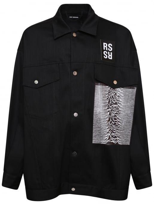 Raf Simons Joy Division Unknown Pleasures Oversized Denim Jacket Black