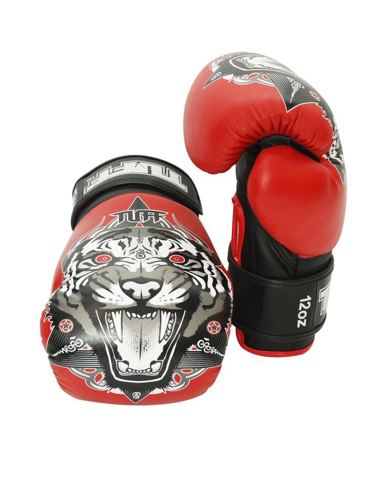 Tiger Fancy Boxing Gloves (Red) by Tuff on Guruwan.com | TUFF Red Tiger Fancy Boxing GlovesLight weight gloves that are suitable for pads, bags and sparringWith durable velcro wrist closureMaterial: High grade authentic leather