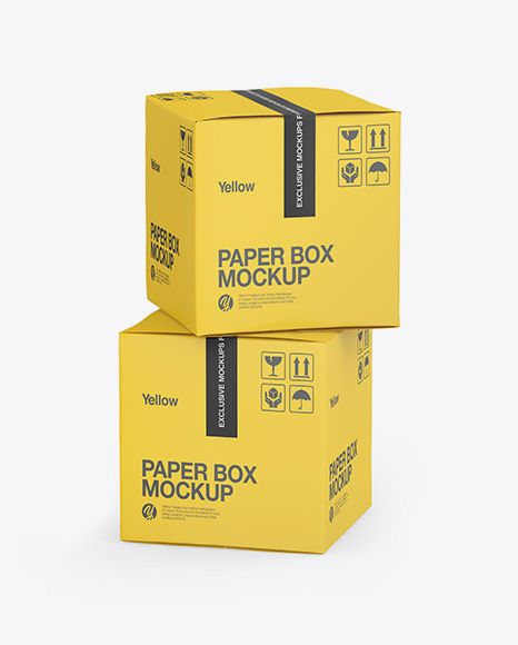 Download Two Paper Boxes Mockup Half Side View In Box Mockups On Yellow Images Object Mockups Box Mockup Mockup Free Psd Mockup