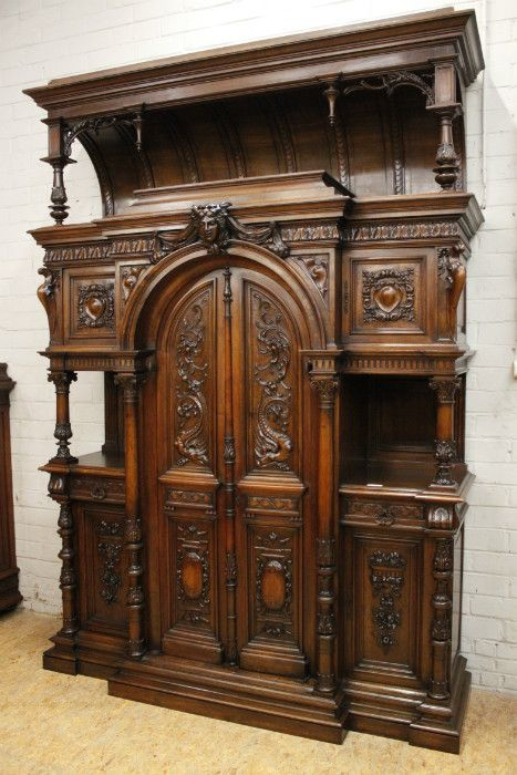 ~ Monumental Walnut Henri II Castle Cabinet, France 19th c. ~ houtroos.com