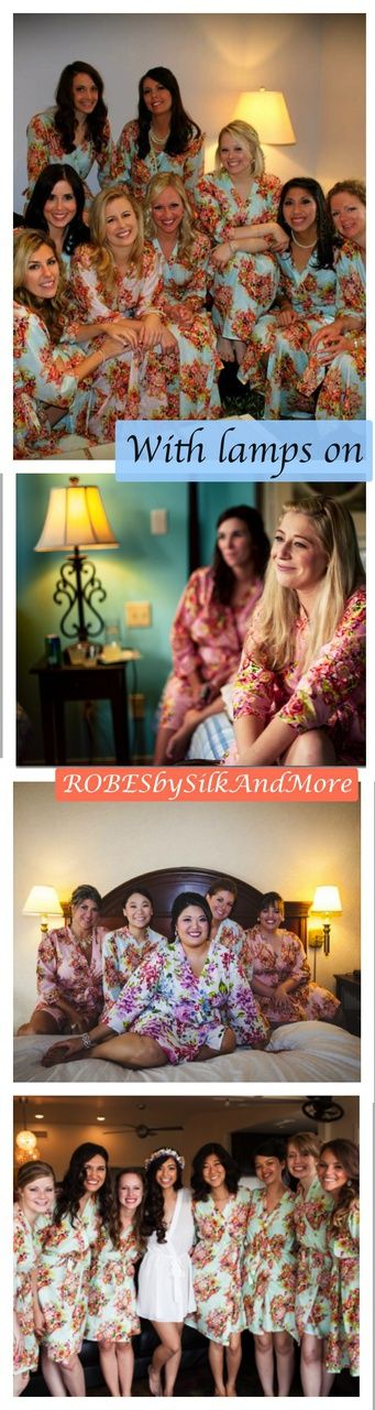 With lamps on - Bridesmaids Getting Ready Poses - Robes by silkandmore - Mismatched Shabby Chic Floral Posy Robes, $25 (http://robesbysilkandmore.com/mismatched-shabby-chic-floral-posy-robes/)
