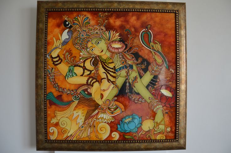 Ardhanareeswara glass painting with stones and gold work Mural glass painting