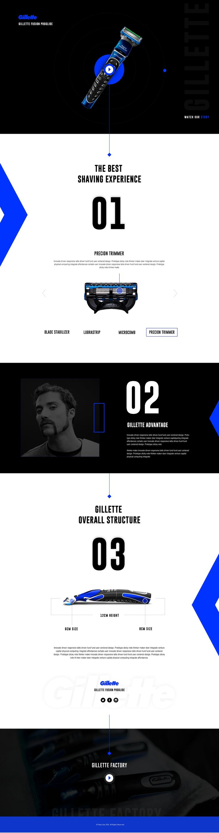 "Idea to make a landing page Design for Gillette Fusion ProGlide. I think you guys will like my designing idea.If you want to make your single product template design contact me.#### Don't miss to view full design ### Press ""L"" to like it.Thank you."