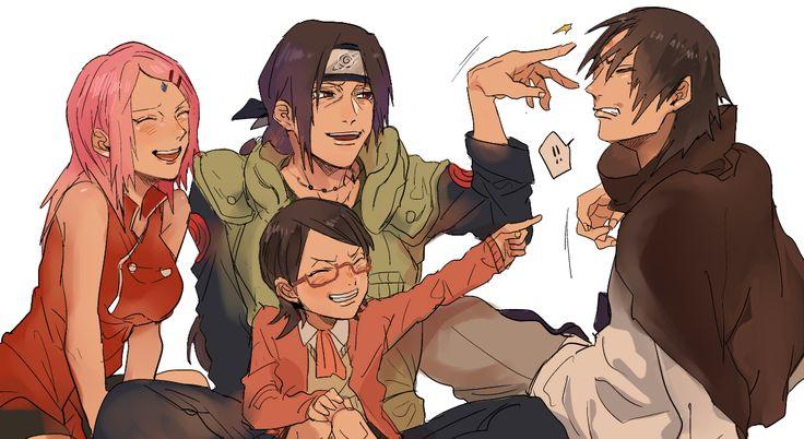 Sakura, Sarada, Sasuke and Itachi | uchiha family ...