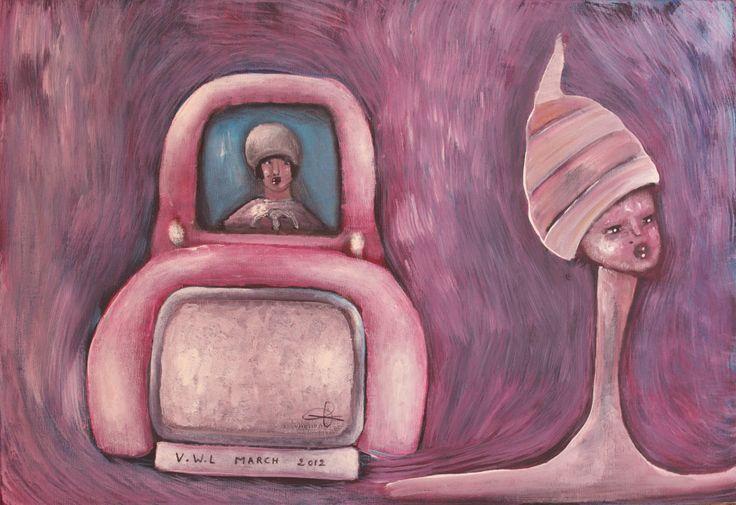 "VWL/Twen/012 (Paris 2012 ""Killer Car"")- Acrylic on canvas/ Acrylique sur toile/Acrylico  sobre tela (38X55cm)"