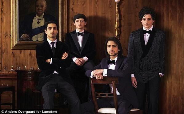 Riz Ahmed,Craig Roberts, Luke Pasqualino and Aneurin Barnard before the BAFTAs 2014 {x}
