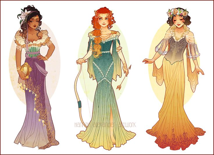 Redesign of Esmeralda, Merida, and Snow White