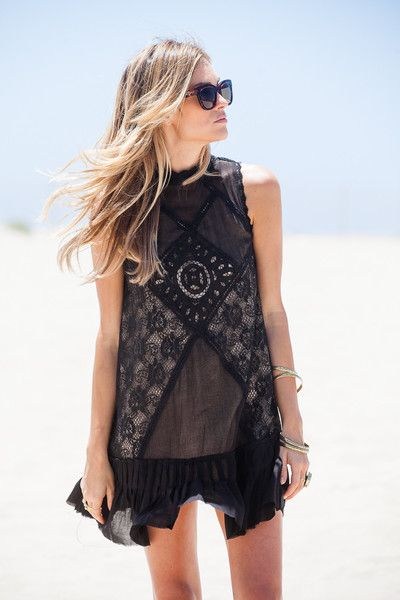 Free People Angel Lace Dress- Black