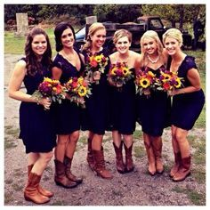 fall wedding bridesmaid dresses with cowboy boots - @adkins2487