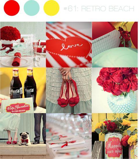 Que tal decorar seu casamento com talheres envoltos por fitas? Latas, garrafas, flores e cravos com um toque vintage? O vestido sutil contrasta com o vermelho dos sapatos. Uma paleta vintage, seguindo os tons de azul menta, o vermelho pop vibrante e um amarelo lúdico.