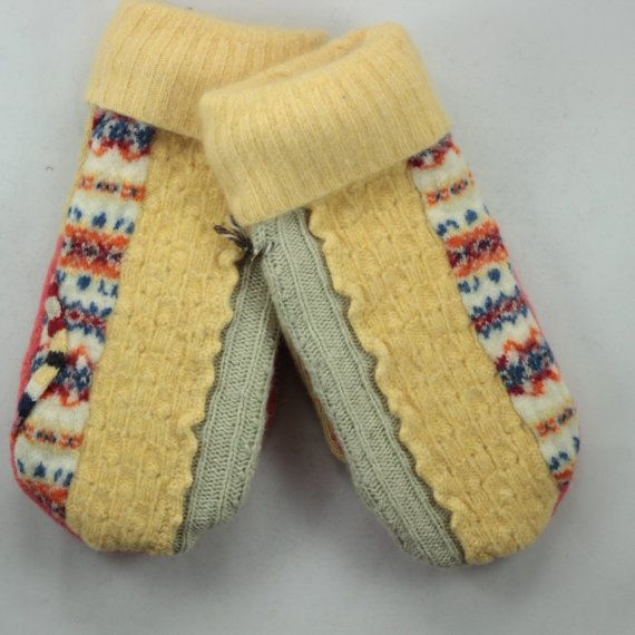 Recycled Yellow and Orange Sweater Mittens, Medium, Up-cycled Felted Mittens, Yellow by OldWoolNew Welcome to winter! These recycled Sweater