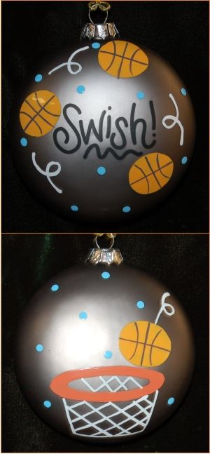Hand Painted Basketball Glass Christmas Ornament