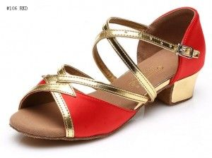 latin dance shoes #106 red