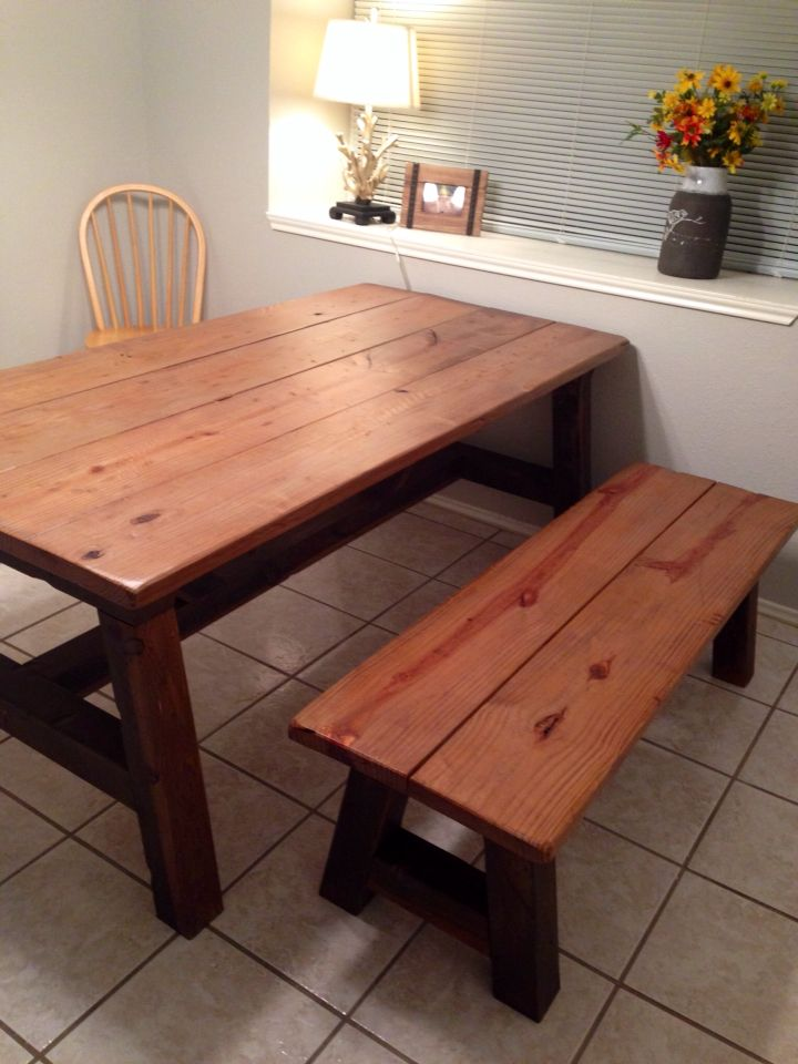 Farmhouse Table With Aged Wood Finish. Vinegar And Steel Wool Gave It The  Old Weathered