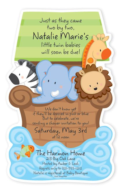 Noahs Ark Baby Shower Diecut Invitation $2.50 each