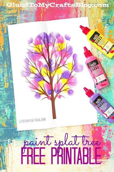 Paint Splat Rainbow Tree - Kid Craft Idea w/free printable