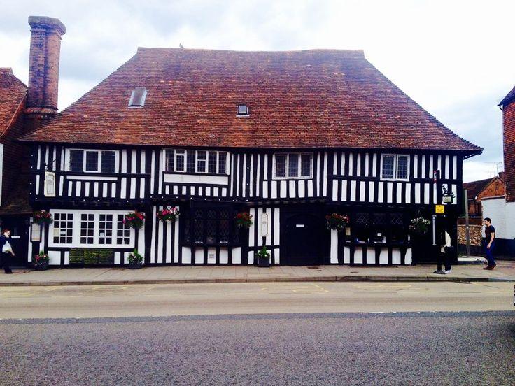 Timber framed (cruck framed) house with red tiled roof - Tenterden, England