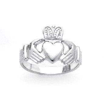 Sterling Silver hi-polished mens Claddagh ring. Specify size. Made to order. Also available is the matching ring for ladies. Free shipping.