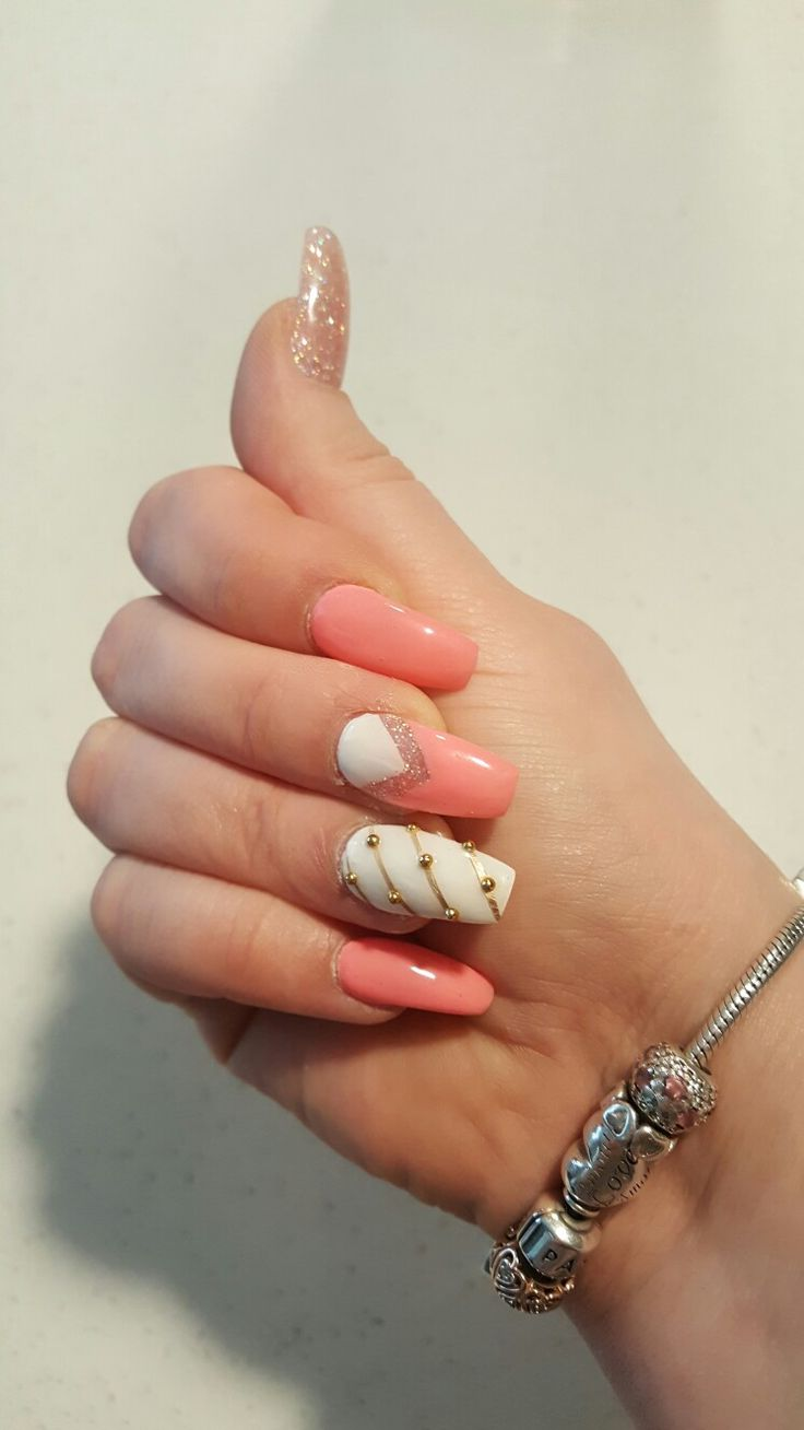 Summer nails♡ coral white and gold