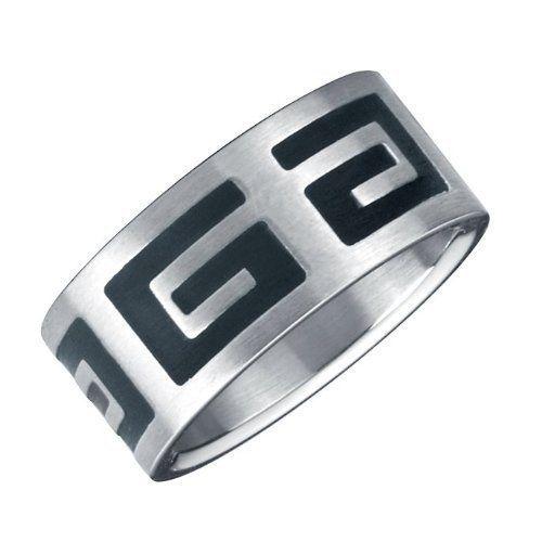 R&B Bijoux - Anneau Homme Symboles Grecs - 316L Acier Inoxydable - Bague 10mm. 22,90€ #bague #anneau #homme #argent #noir #acier #cadeau #fetedesperes