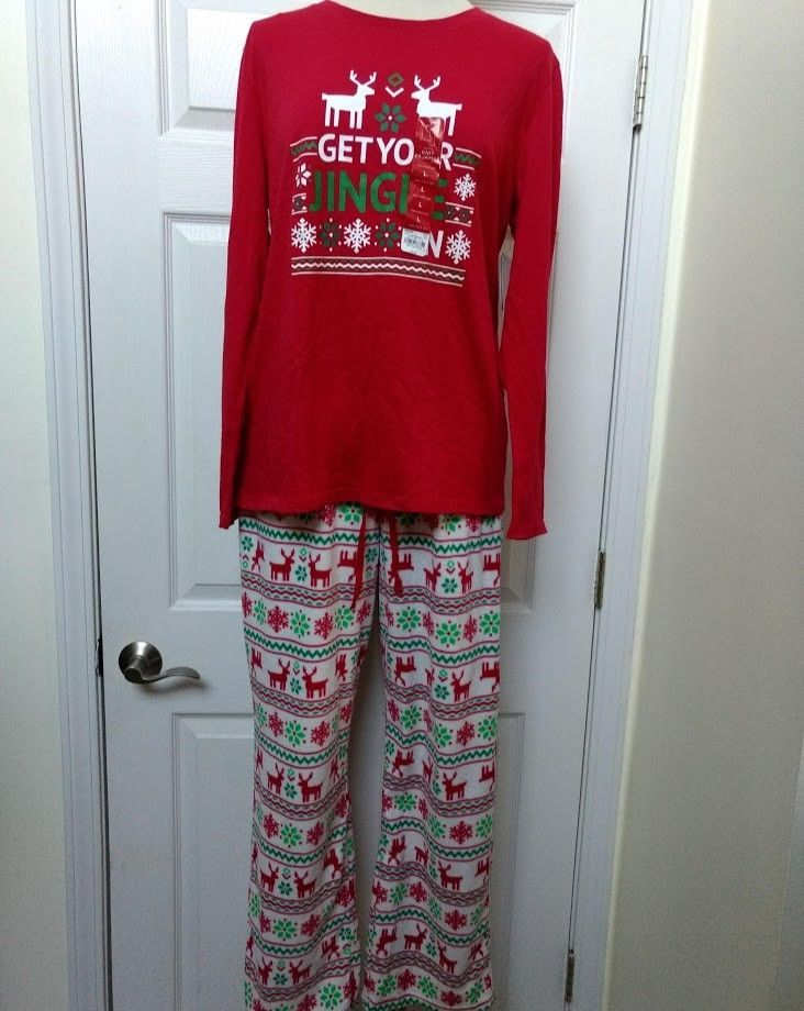 Jammies Family Womens Large Reindeer Christmas Pajama Set Pants Get Jingle On L Jammiesforyourfamilies Piecesetshirtpants