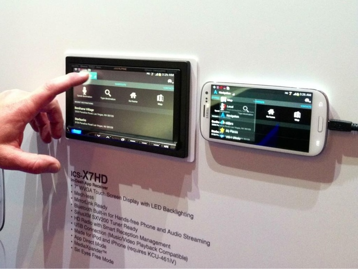 The Alpine ICS-X7HD runs apps and is ready for MirrorLink from the Galaxy S3 Android phone. #CES #2013CES