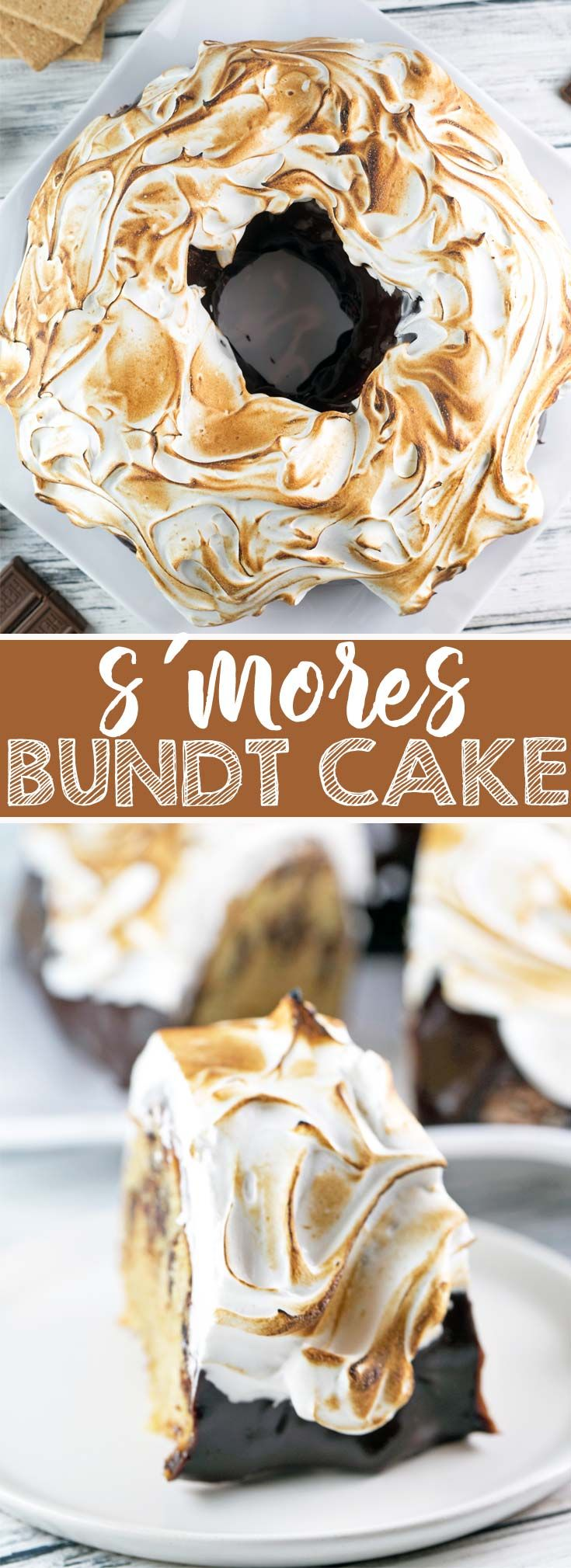S'mores Bundt Cake: a graham cracker cake with chocolate ganache and homemade marshmallow fluff frosting toasted to a perfect brown.  It's just like your childhood favorite - but even better! {Bunsen Burner Bakery} via @bnsnbrnrbakery