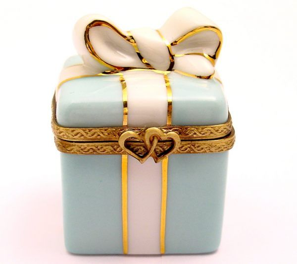 Turquoise Blue Gift Wrap Limoges Box