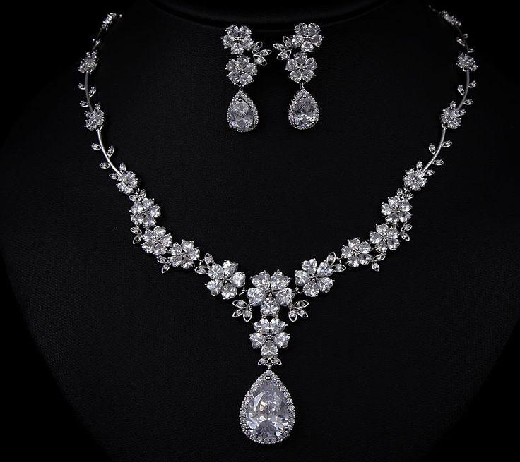 Wedding Diamond Necklace With Earrings