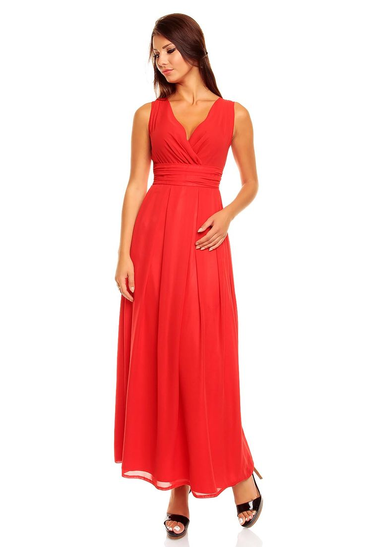 Red Lovely Maxi Chiffon Dress Party Evening Dresses