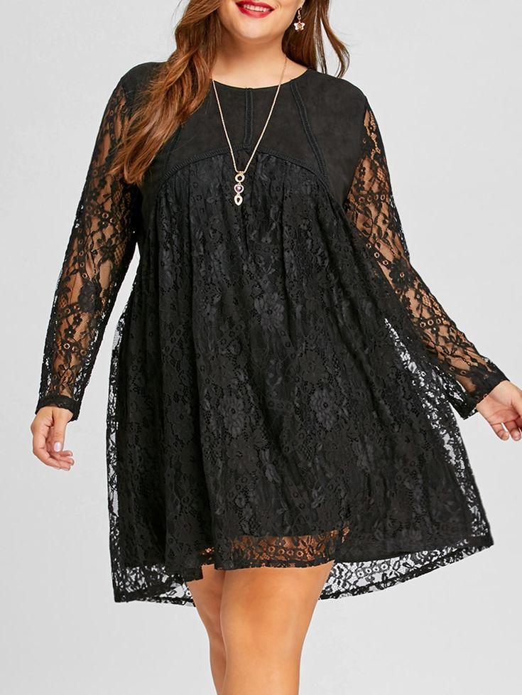 $19.05--Long Sleeve Plus Size Lace Shift Dress in Black 5x/18