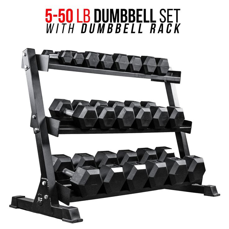 Rep 5-50 lb Rubber Hex Dumbbell Set with Rack. Includes 5, 10, 15, 20, 25, 30, 35, 40, 45, 50 lb pairs of rubber coated hex dumbbells, and heavy duty Rep 3-tier dumbbell rack, measuring 3 ft high, 4 ft long, and 2 ft deep. Premium low odor rubber, fully knurled straight handle, secure press-fit and welded handle to secure dumbbell head to handle. Weight is accurate to within 3% for 25 lb and under, 2% for 30 lb and above. Fully knurled straight handle with 28mm diameter from 5 to 20 lbs…