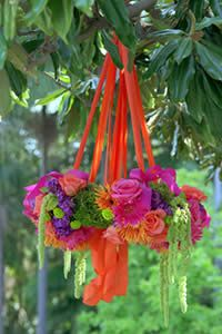 Suspended floral for a garden fiesta