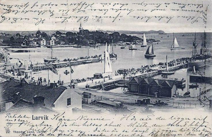 Vestfold fylke Larvik utsikt mot havna. Brukt 1900 Utg P.Alstrup/T, Larvikheodor Lund