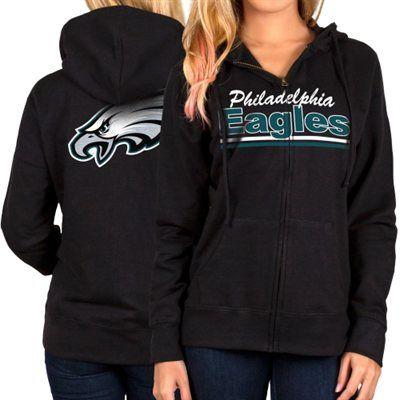 Philadelphia Eagles Women's Full Zip Hoodie – Black
