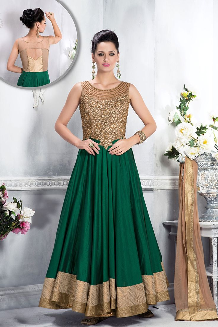 Bottle Green & Golden cotton Flared Anarkali -SL3262 - Anarkali Salwar Kameez - Salwar Kameez