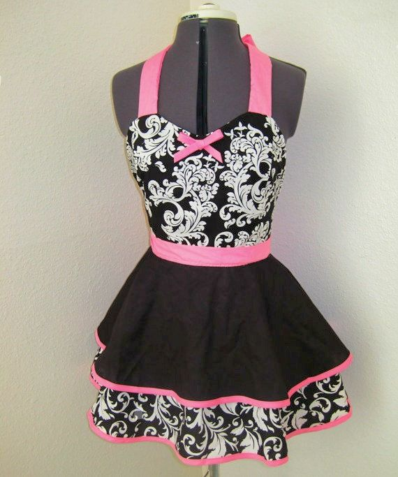 Pink, Black & White Parisian Pin Up Vintage Retro Style Apron $35.00