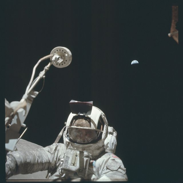 From newly released, hi-res pictures of the Apollo Moon missions. I'm going to go out on a limb here and guess most everyone will recognize that little blue marble off this astronaut's left shoulder.