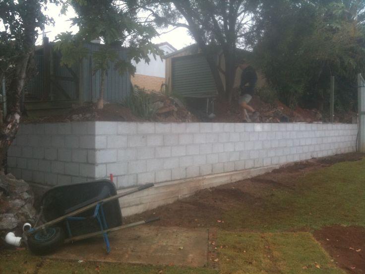 grey concrete block retainer wall