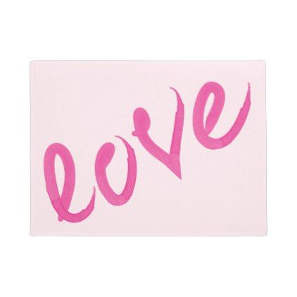 Love - Bright Pink Handwritten Watercolor Script Doormat - valentines day gifts diy couples special day