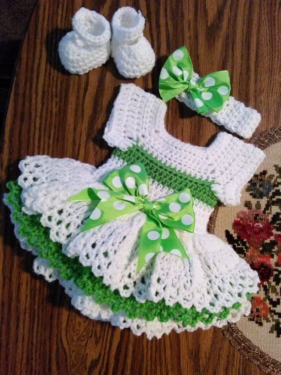 green and white crochet onsie dress set