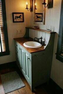 rustic bathroom vanity; i like thetop shelf idea, maybe use copper sheeting for…