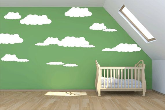 Large cloud wall decal 7 clouds mural wall by quirkyworks33 21 00